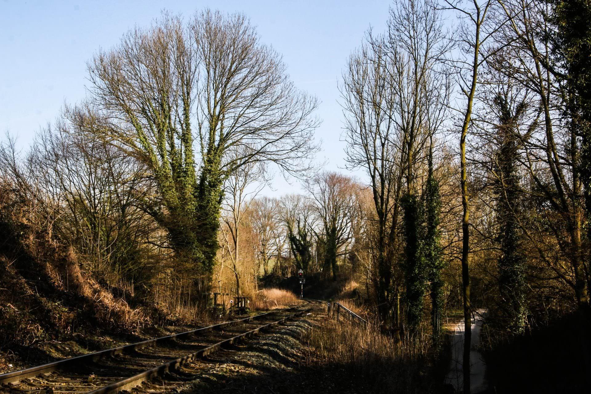 Strecke Abzweig Tiefenbroich nach Flandersbach (Zu sehen ist das Einfahrsignal des Bahnhofes Flandersbach)
